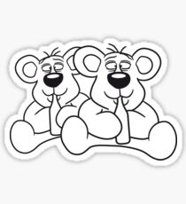 sitting 2 team crew buddies drunk thirsty cola drink alcohol party bottle beer drinking polar teddy bear funny Sticker