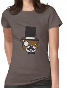 sir mr wall wall hidden text sign face head gentlemen cylinder stock monokel glasses nobility rich funny hat sweet cute comic bear taddy Womens Fitted T-Shirt