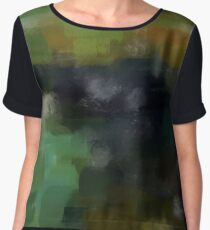 Abstract Nature Landscape Green Chiffon Top