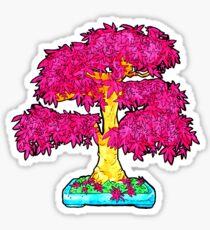 hot pink maple bonsai  Sticker