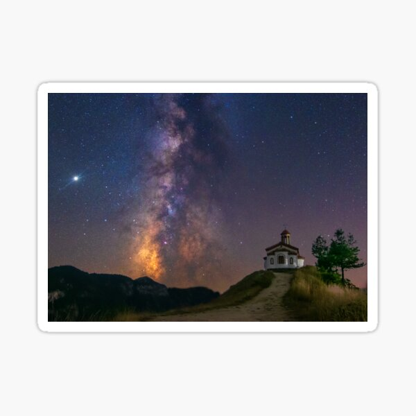 Milky way star night sky and a chapel with a cross on a mountain landscape with tree Sticker