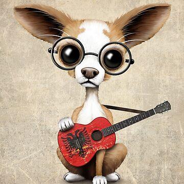 Chihuahua linda tocando la guitarra de bandera albanesa de JeffBartels