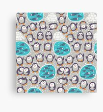 Winter penguins Canvas Print