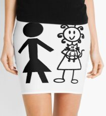 The Girl with the Curly Hair Holding Cat and NT Woman - White Mini Skirt