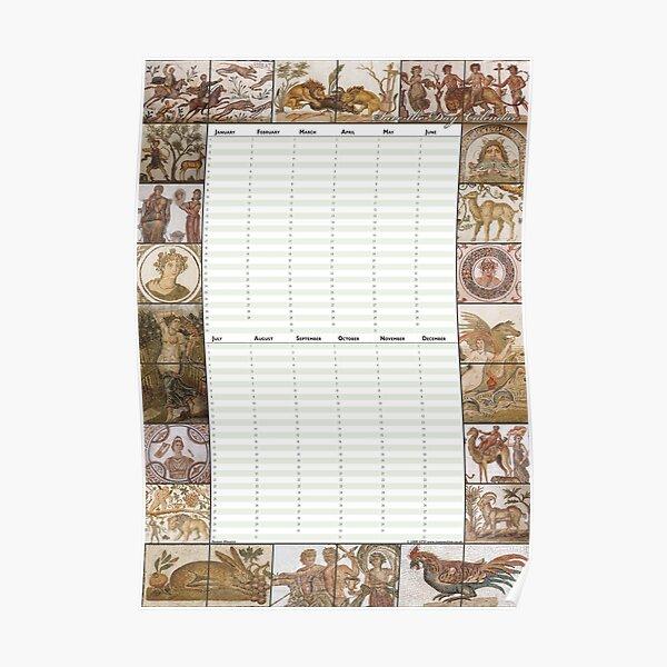 Roman Mosaics - Perpetual Birthday Calendar Poster Poster