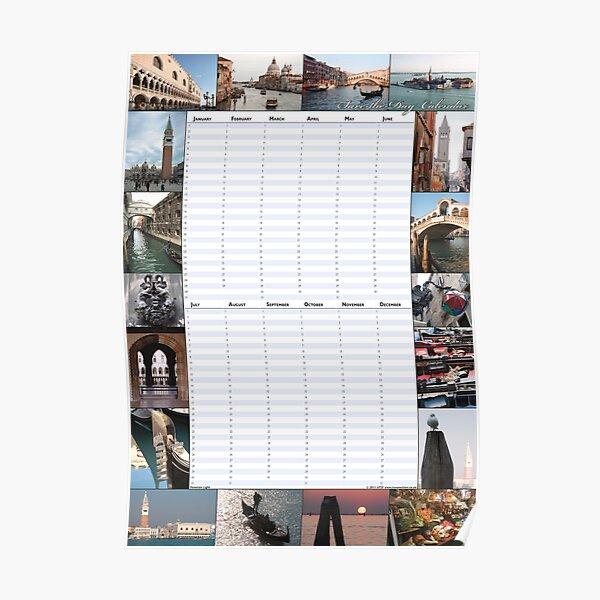 Venetian Light - Perpetual Birthday Calendar Poster Poster