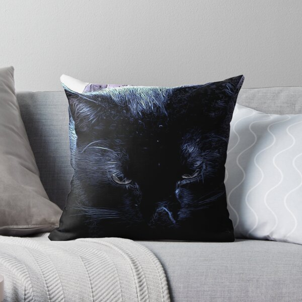 BLACK CAT CLOSE UP IN BLUE Throw Pillow