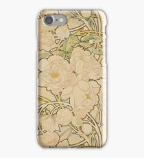 Alphonse Mucha - Peonies 1897  Garden, love, dress, fashion,spring, summer, peonies, pink, blossom, beauty iPhone Case/Skin