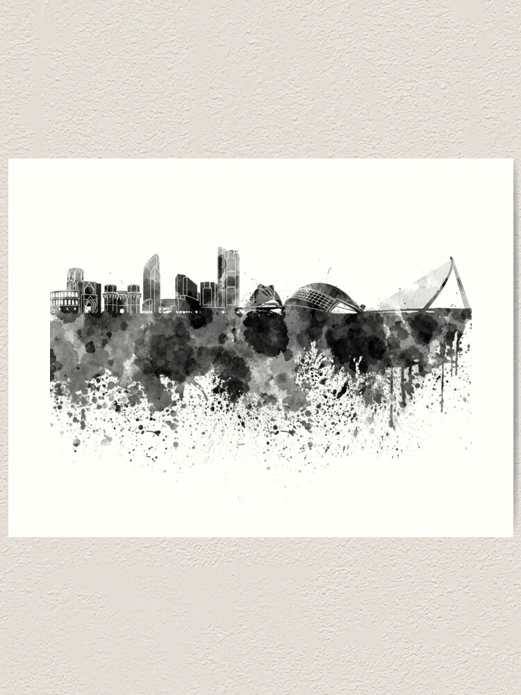 Barcelona Skyline Watercolor Print Spain Travel Wall Art Cityscape Map Decor