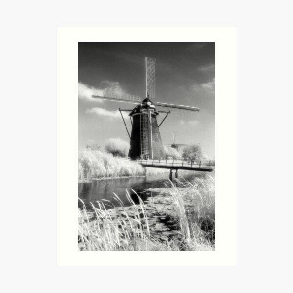 Kinderdijk Windmill Infrared Photograph Art Print