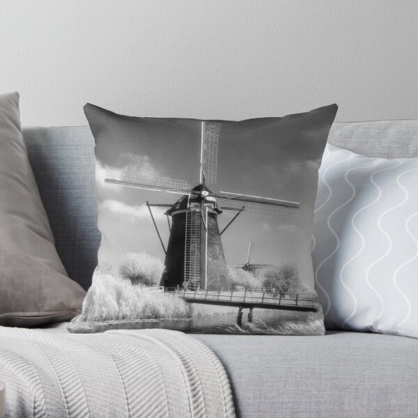 Kinderdijk Windmill Infrared Photograph Throw Pillow