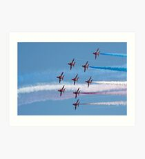 Red Arrows jets flying in formation Art Print