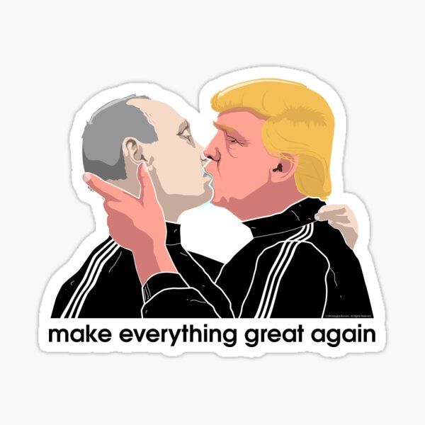 Trump kissing Putin Sticker
