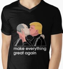 Trump kissing Putin Men's V-Neck T-Shirt