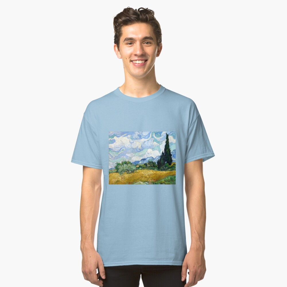 Vincent van Gogh Wheatfield with Cypresses Classic T-Shirt Front