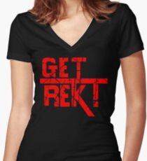 Rekt - ONE:Print Women's Fitted V-Neck T-Shirt