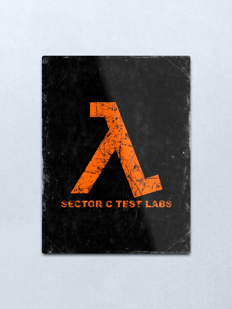 Alternate view of Lambda Orange Grunge Metal Print