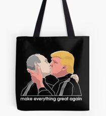 Trump kissing Putin Tote Bag