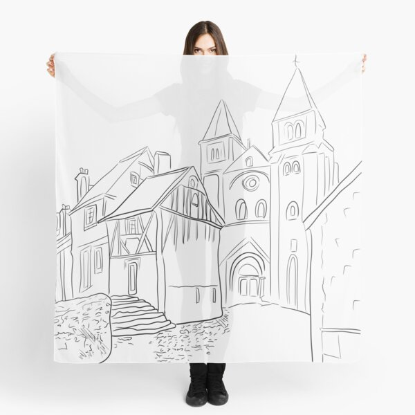 Conques Black and White Scarf