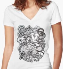 A Medley of Mushrooms Women's Fitted V-Neck T-Shirt