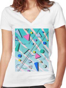80s pop retro pattern 4 Women's Fitted V-Neck T-Shirt
