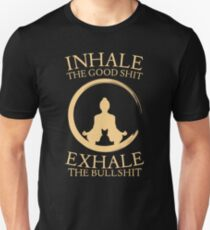 Yoga with cat - inhale - exhale Unisex T-Shirt