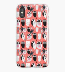 Owls on a red background iPhone Case/Skin