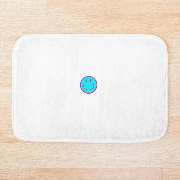 Smiley face w lighting pink and blue bolt  Bath Mat