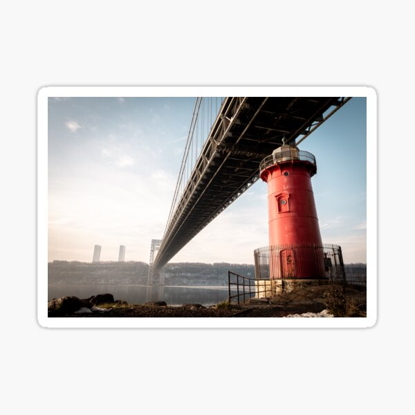 Little Red Lighthouse on a foggy morning Sticker