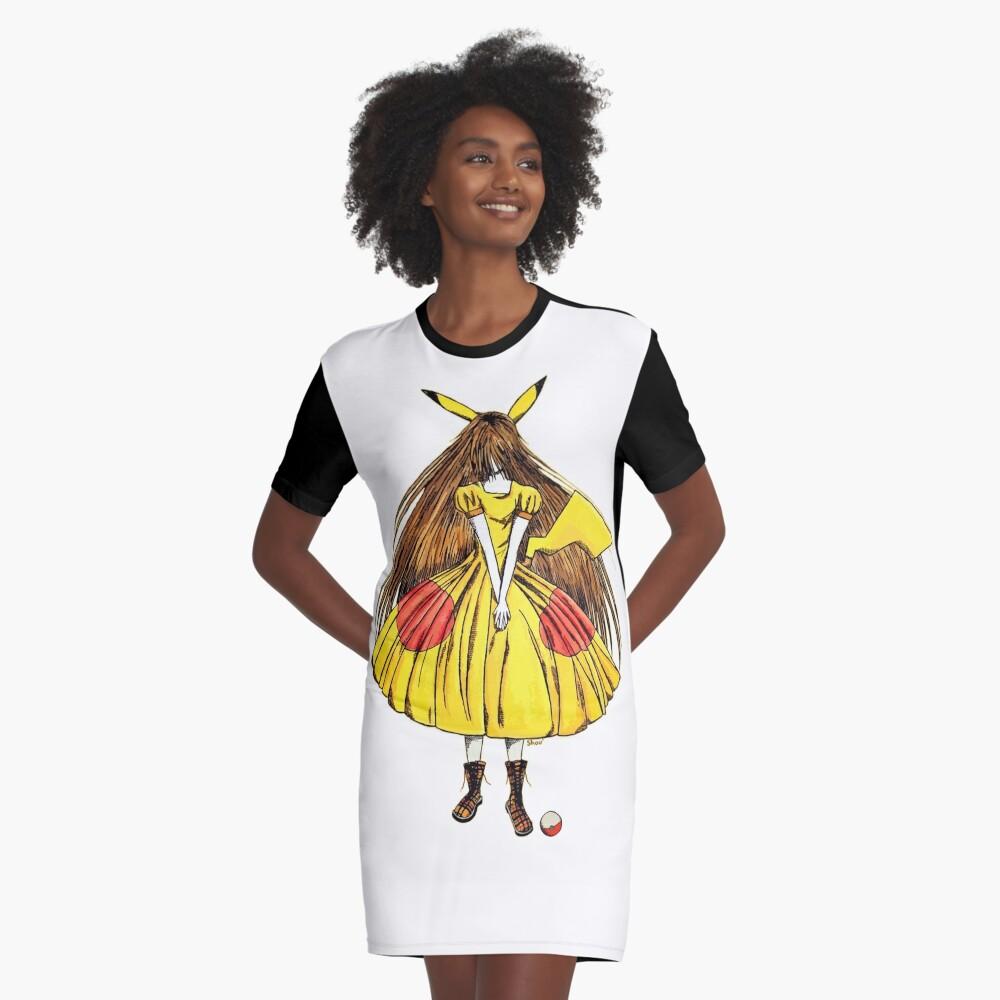 Lady Pikachu Graphic T-Shirt Dress