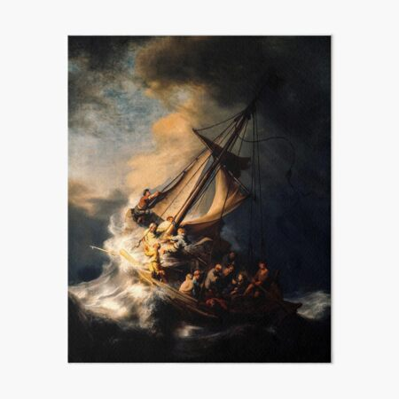 The Storm on the Sea of Galilee. Painting by Rembrandt Art Board Print
