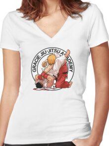 RYU VS KEN - GRACIE JIU-JITSU STYLE Women's Fitted V-Neck T-Shirt