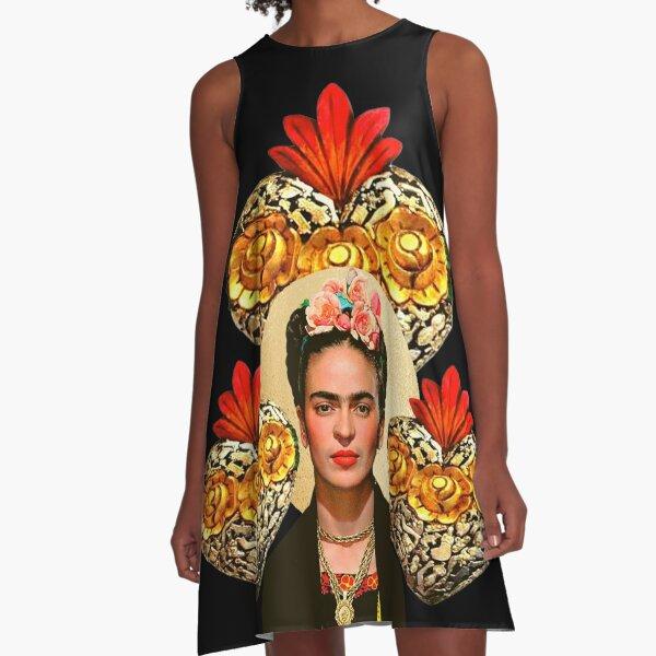 Frida Kahlo portrait color, flowers and sacred heart, black background A-Line Dress