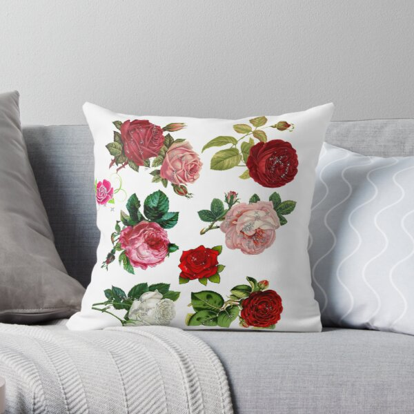 Ornamental Pattern With Red Color Throw Pillow