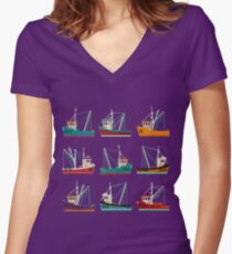 Fishing Trawlers Women's Fitted V-Neck T-Shirt