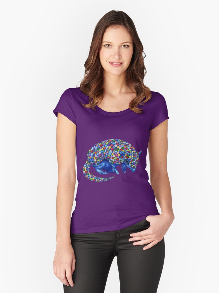 Mosaic Armadillo Women's Fitted Scoop T-Shirt Front