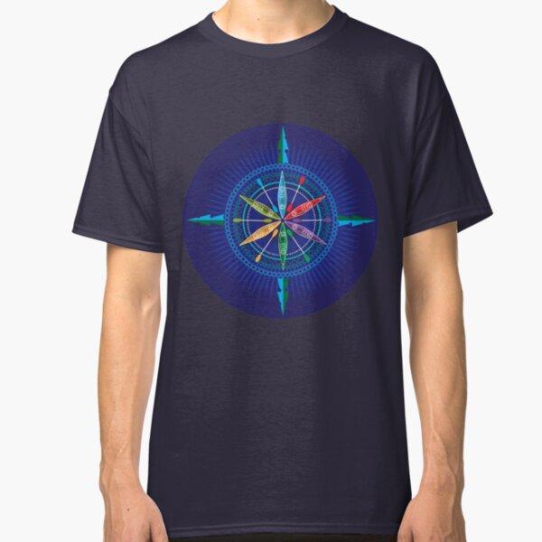 Kayak Compass Rose on blue Classic T-Shirt
