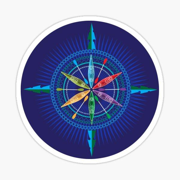 Kayak Compass Rose en azul Pegatina