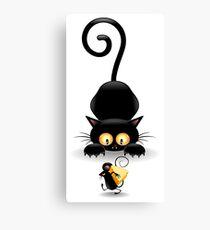 Amusing black cat Canvas Print