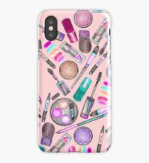 Girly Girl Hand Painted Watercolor Makeup on Pink iPhone Case/Skin