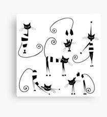 Amusing cats design set Canvas Print