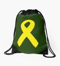 Yellow Ribbon on Green Drawstring Bag