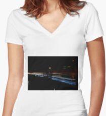 Freeway Light Women's Fitted V-Neck T-Shirt