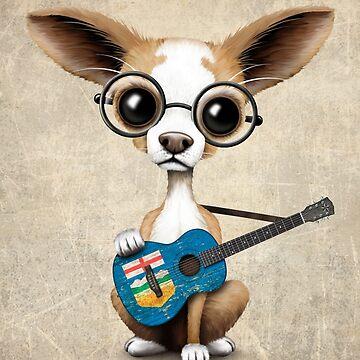 Chihuahua linda que toca la guitarra de la bandera de Alberta de JeffBartels