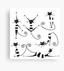 Amusing black cat design Canvas Print