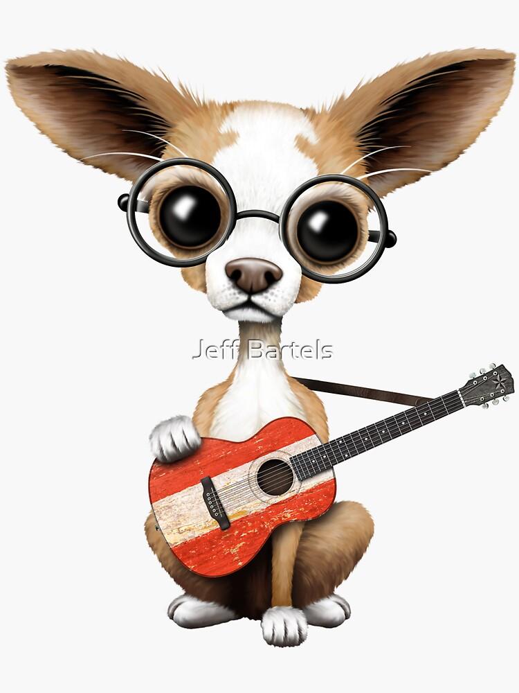 Nette Chihuahua, die österreichische Flaggen-Gitarre spielen von JeffBartels
