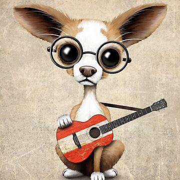 Chihuahua linda que juega la guitarra de la bandera austríaca de JeffBartels