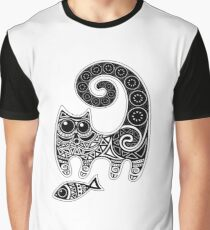 Funny floral pattern cats Graphic T-Shirt