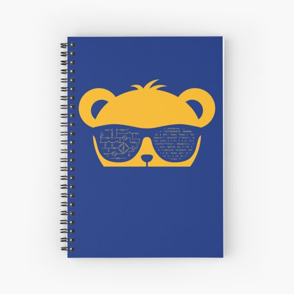 Coder Bear Sunglasses - Yellow Spiral Notebook