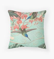 Tropical Mint and Coral Collage Throw Pillow